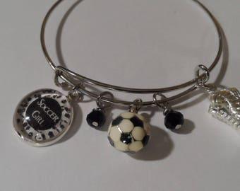 Soccer Bangle Bracelet Free Shipping Enamel 3D Soccer Ball, Photo Charm of Soccer Girl , Shoe Charms, White and Black Beads.Great Gift