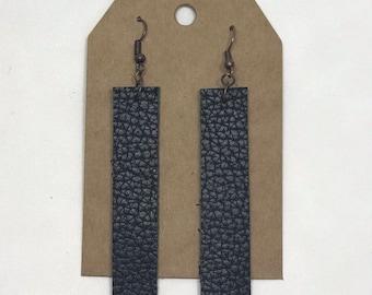 Leather Drop Earrings: Black