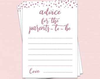 Pink Advice for parents to be printable, advice for parents card, parents advice cards, baby shower advice card, advice for new parent BL7