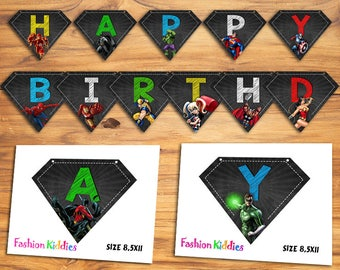 Superhero Birthday Banner Chalkboard/Superhero Banner/INSTANT DOWNLOAD/Superheroes Printables/Birthday Banner/Avengers Banner/Avengers Party