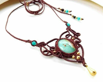 Macrame  Chrysoprase necklace