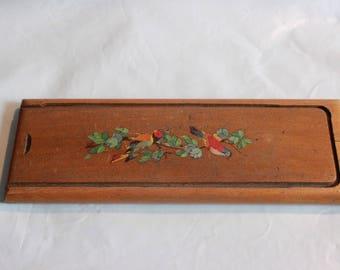 Vintage French wooden pencil box,was 28 now 22 euros! plumier 1950s birds design retro desk