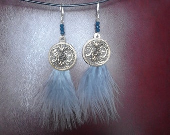 Art Nouveau with gold scrollwork and cut steel buttons, feather earrings blue and blue beads