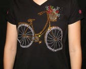 Rhinestone Bicycle Unique Custom Women's Cute Fun Glitter Cool   Bling  V-neck T shirt Cindy's Handmade Shirts Boutique