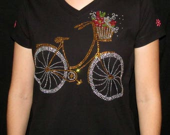 Rhinestone Bicycle Unique Custom Women's Cute Fun Glitter Cool Embroidery  Bling  V-neck T shirt Cindy's Handmade Shirts Boutique