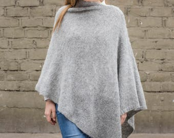 Light Heather Grey pullover poncho