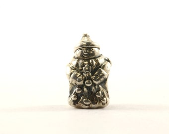 Vintage Christmas Happy Snowman Bead Charm Sterling 925 CH 204