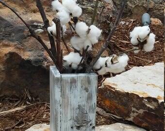 Reclaimed wood vase - Weathered Oak/Whitewashed; Distressed wood vase:  Tabletop decor; Wood vase;