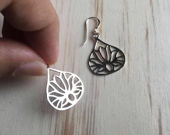 Lotus flower dangle Earrings - 925 Sterling Silver - Flower Earrings - Yoga Jewelry - Boho Earrings - Lotus flower jewelry - Dainty Earrings