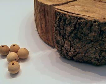 Round wooden beads / 20mm
