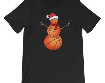 Funny Christmas Shirt for Basketball Lovers Funny Christmas Basketball Ball Santa Snowman T-Shirt