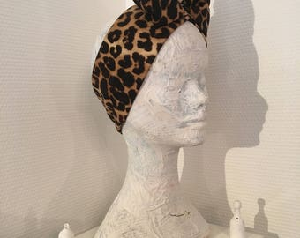 "Headband ""Roselea"" leopard patterned strecthy cotton"