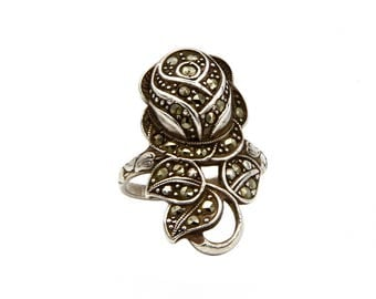 Antique Rose Flower Ring, Antique 1920s Jewelry, Marcasite Rose Ring, 925 Sterling Silver, Vintage Uncas Ring, Floral Jewelry, Ring Size 7