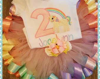 Unicorn Birthday, Any Age, Super Thick Custom Made TUTU, Unicorn, Birthday, Embroidery Unicorn, (Onesie or Shirt, TUTU and Custom Bow)