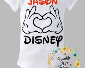 Disney, Mickey Mouse, Minnie Mouse, Jason Loves Disney, Onesie or Tee - Super Cute - Personalized With Any Child's Name