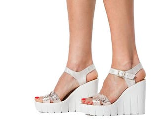 Woman geniune Leather summer wedges sandals with open toe  flat sandals anatomical insole Ladies Leather bag Platform sandal 35-40 EU size