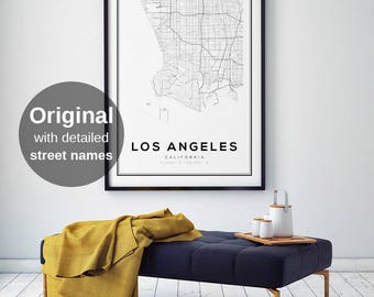 Los Angeles Map Print LA California Poster