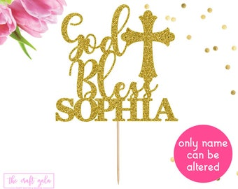 Personalized God Bless Cake Topper, Baptism Cake Topper, Christening Cake Topper, Communion Cake Topper, Name Cake Topper, Baby Cake Topper