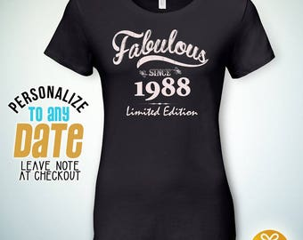 Fabulous since 1988, 29th birthday gifts for Women, 29th birthday gift, 29th birthday tshirt, gift for 29th Birthday,