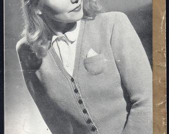 Patons and Baldwin Lady's V-Neck Cardigan Knitting Pattern 217, 1940s
