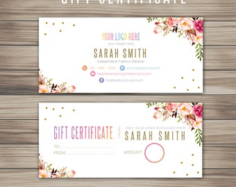 Boho Gift Certificate, Striped white black Marketing Kit, Fast Free Personalization, Digital File, For Retailer, home office approved K25811