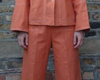 Vintage Ladies 1950s dead stock Burnt Orange denim duck cotton work suit, jacket and culottes, two piece chore jacket, S/M