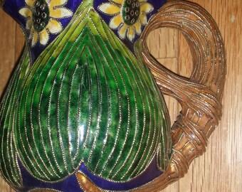 Cloissone vintage brass enamel vase