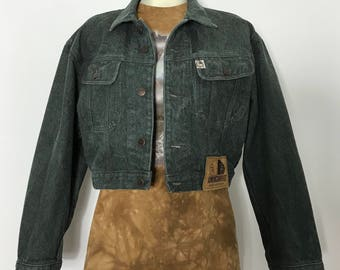 Americanino / cropped denim jacket / 90s denim jacket / green denim jacket / 90s clothing / made in italy / denim jacket women