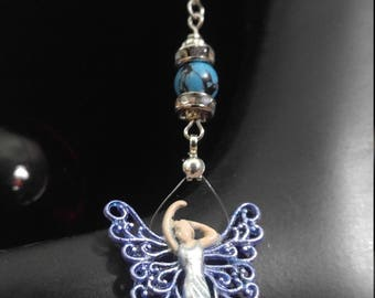 Handpainted Healing Angel with turquoise crystal, Rearview Mirror accessory, Car Charm, Ornament