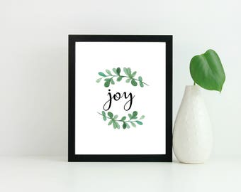 Joy print, Christmas decor, Christmas print, christmas quote print, holiday decor, home decor, christmas decoration, winter home decor