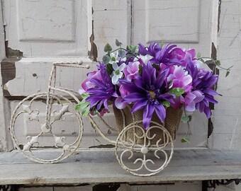 Rustic wire bicycle floral arrangement/Purple centerpiece in rustic metal bicycle/Floral centerpiece/Rustic table centerpiece