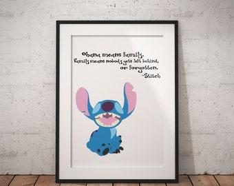 Ohana Means Family Poster, Stitch, Lilo and Stitch, Disney, Quote, Print
