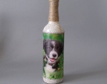 Collie Puppy Decorated Bottle