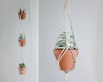 Macrame Succulent Plant Hanger / Macrame for 3 succulent or cactus