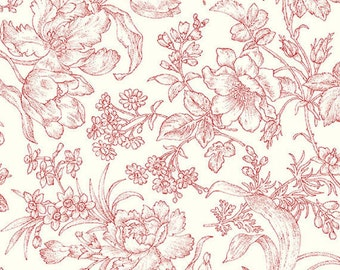 Clothworks Raspberry and Cream by Marsha McCloskey - Sold by the Yard