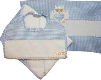 Set per l'asilo:sacca, asciugamano, bavaglino con nome ricamato / Kindergarden School Set-bib, towel, drawstring bag with embroidered name 1
