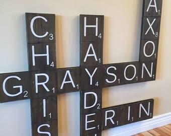 Wooden Letters - Wooden Letter Scrabble Tile - Wooden Letters for Wall - Scrabble Tiles - Scrabble Letters - Family Name Sign