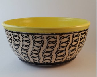 Pottery Serving Dish, Ceramic Serving Bowl, hand carved, sgraffito