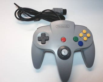 Nintendo 64 N64 Official Gray Controller Rebuilt with New Cord, Rebuilt Tight Analog Stick, Cleaned and Tested