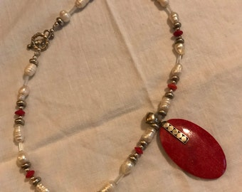 Red Coral and Sterling silver Pendant with pearl and Coral necklace
