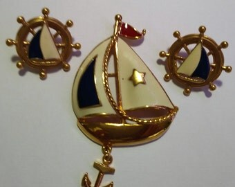 Vintage Avon Sailboat Pin and Earrings