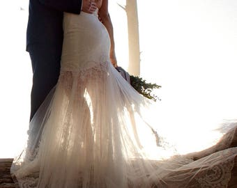 Beach Mermaid Lace Wedding Dress