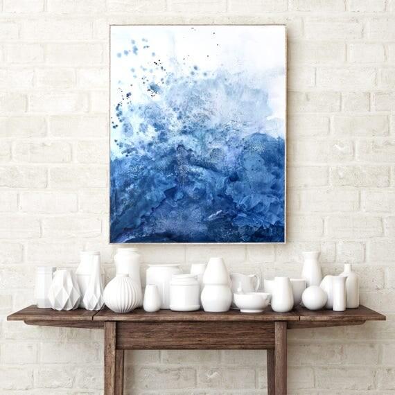 Blue Salt Watercolor Framed Giclée Print