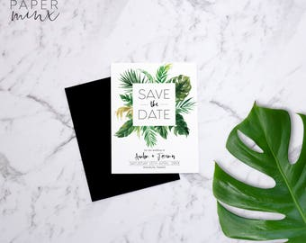 Save the Date | Printed Save the Date | Tropical Invitation | Palm Leaves | Save the Date | Monstera | Tropical | Banana Leaf | Avalon