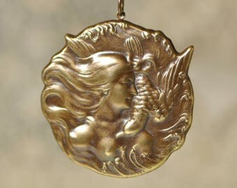 Victorian Style Bird Lady Woman Goddess Large Pendant or Stamping Brass Antiqued Pendant 21V