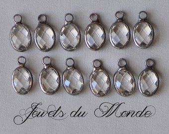 6 Pieces Bezel Set Crystal Clear Faceted Glass Oval Drops Charms Pendants Silver Toned Metal