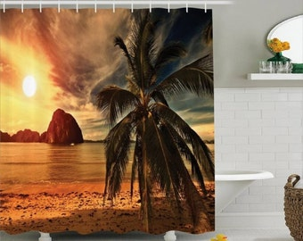 Palm Tree Beach Custom Shower Curtain