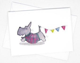 Happy black scottie dog card / Scottish terrier greeting card / Scottie dog gift / Scottie dog ornament / Dog greeting cards / Terrier art