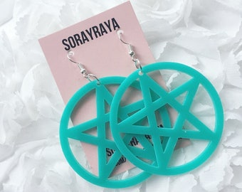 Turquoise Pentagram Earrings