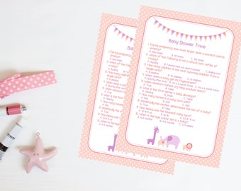 Pink Baby Girl Trivia - Baby Shower Game 20 Players - High Quality Card